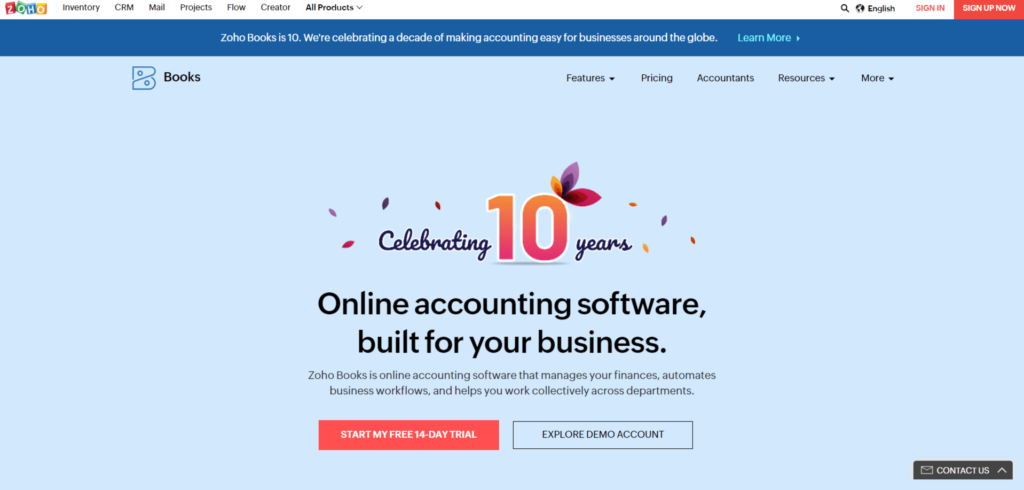 screenshot of zoho global alternative software for online accounting