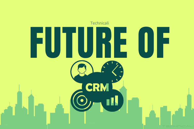 Cover Future of CRM written with building elements on background.