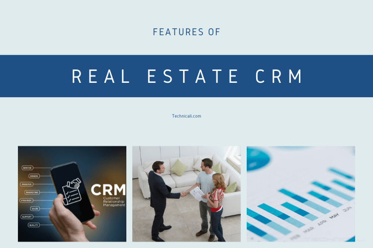 Cover Features of CRM with 3 photos showing CRM uses, 3 persons making deal and monthly stats.