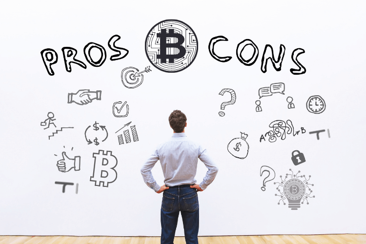 man looking on wall written pros and cons with bitcoin illustrations