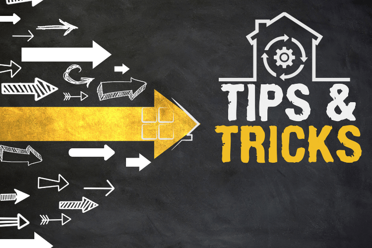 Illustrations written tips and tricks with home and implementation sign on top