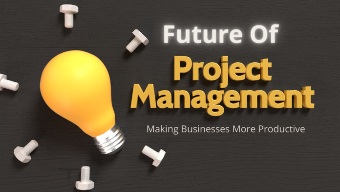 yellow bulb surrounded by open nut bolts and heading future of project management