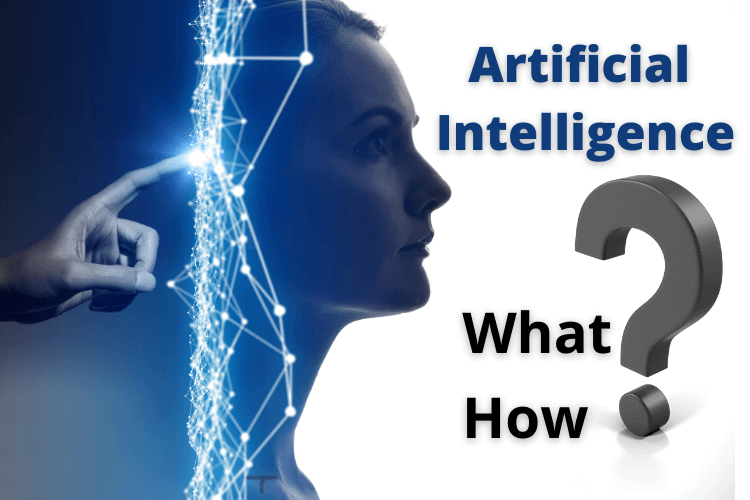 finger pointing to matrix and girl looking at heading artificial intelligence along with additional text what, how and question mark block