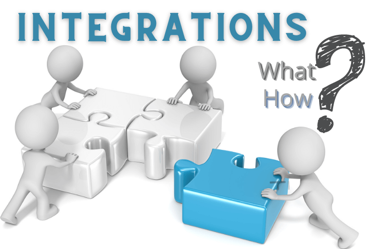 integrations heading with symbolic figures integrating parts of puzzle.