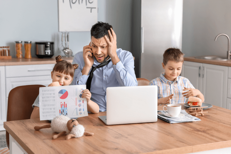 father getting stress talking on mobile while children are busy in their chores