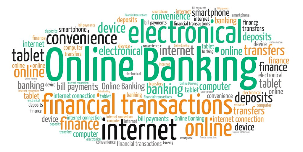 multiple digital terminologies written with online banking in the center in green color