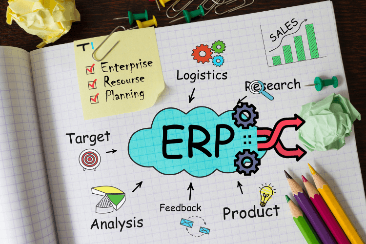 erp written on notebook in clue cloud with coloured pencils