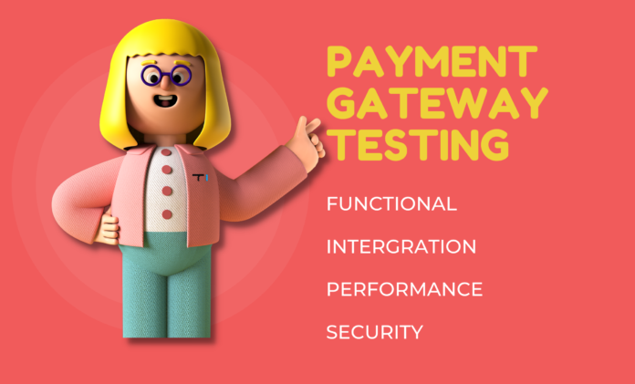 cartoon girl pointing title text payment gateway testing