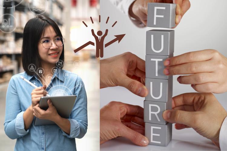 Women looking at future of ERP technology blocks