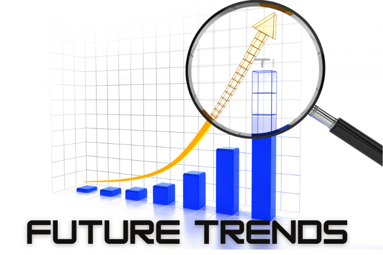 bar chart with lens and text future trends written on the bottom