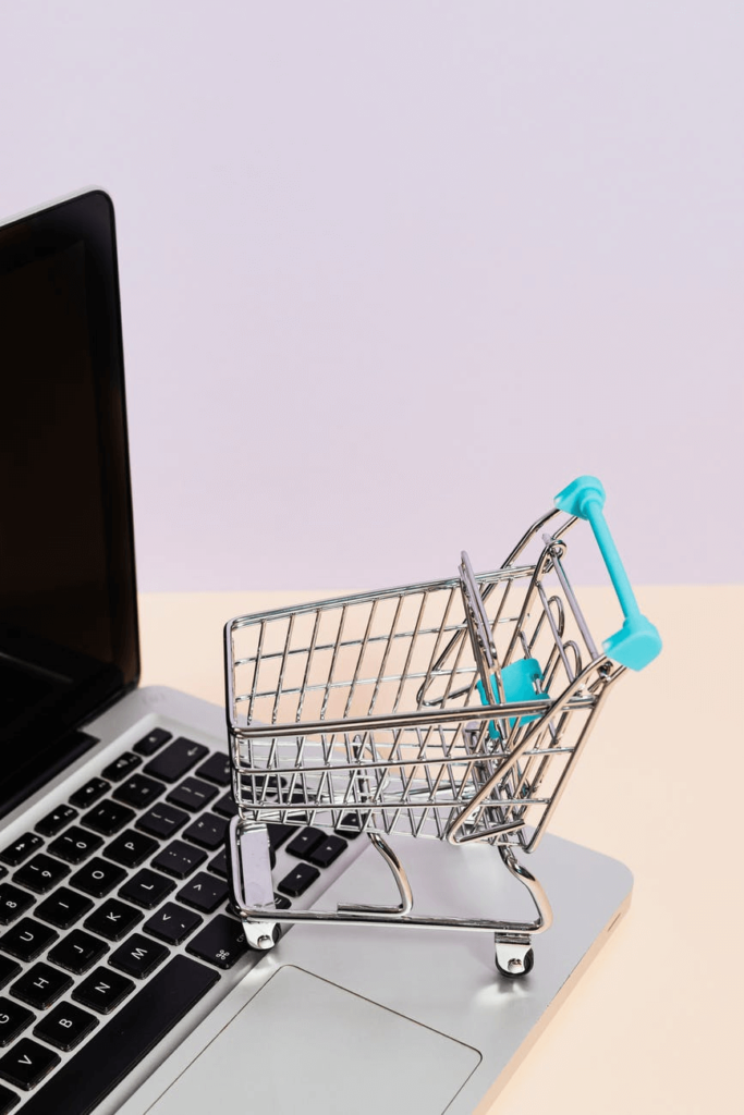 shopping trolley on laptop