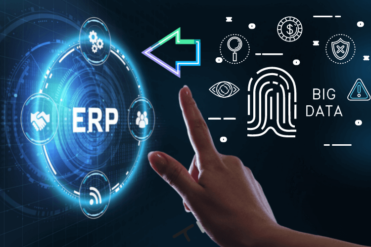 big data arrow pointing to erp