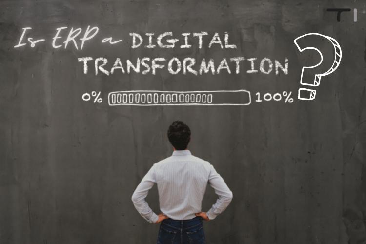 man looking at digital transformation question on black wall