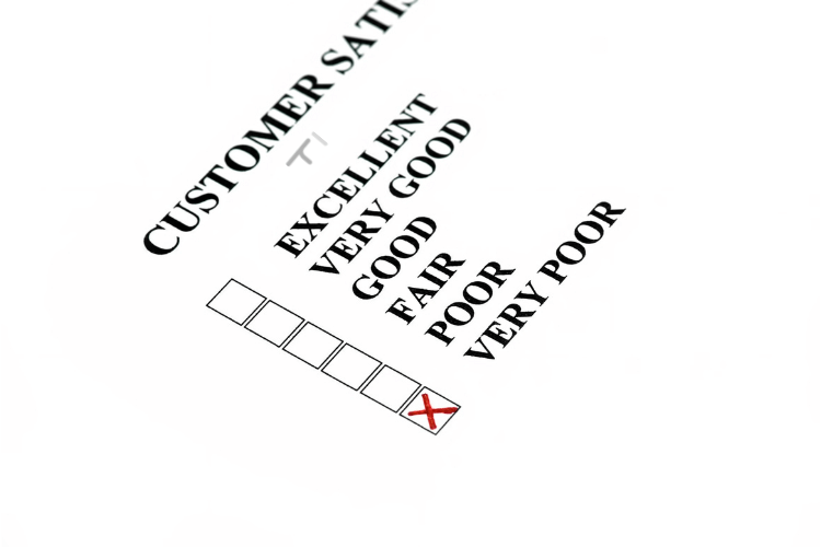 customer satisfaction form with very poor checkbox ticked in red