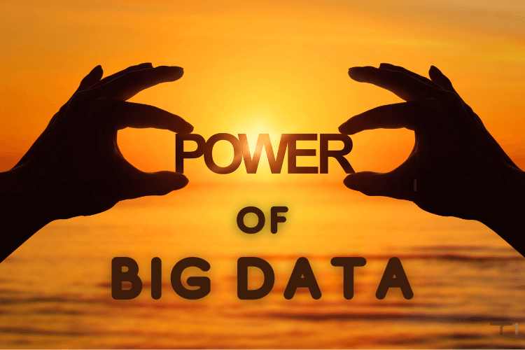 hands holding power of bigdata with sun and sea in background