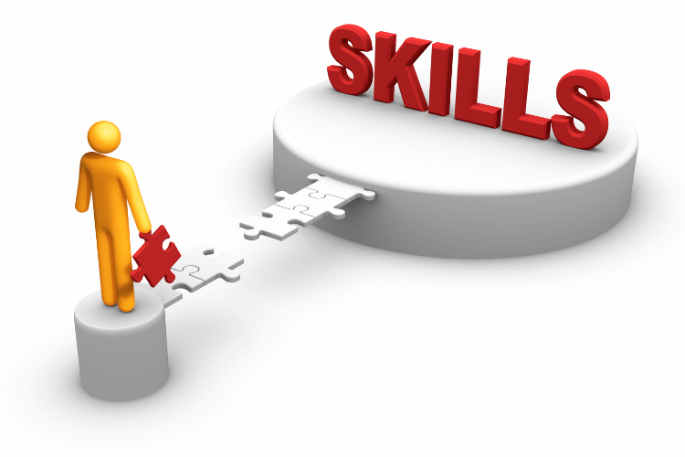 symbolic figure holding connecting piece of skill to complete bridge till skills stage
