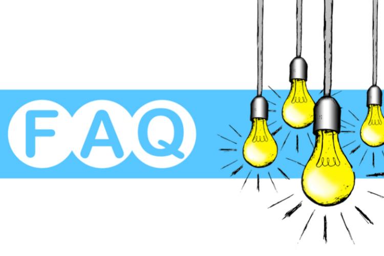 faq banner with four lit bulbs