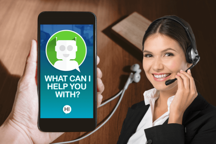 mobile with chatbot asking what can i help you with and women with headphones