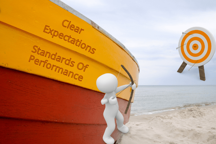 clear expectations and starndards of performance written on boat with a cartoon aiming bow to a dart board